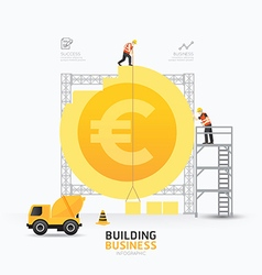 Infographic business euro coin shape template vector