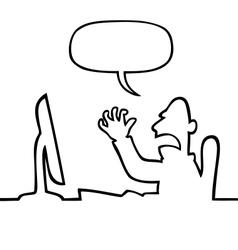 Angry man shouting at his computer vector