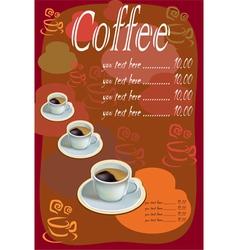 Coffee tea menu vector