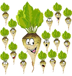 Sugar beet cartoon with many expressions vector