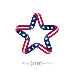 Star with american flag colors and symbols design vector