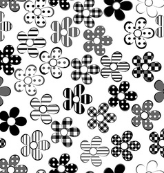 Black and white patterned flowers seamless vector