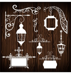 Retro street lanterns on wooden backdrop vector