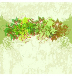 Background with flowers and grunge vector