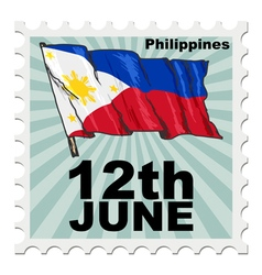 Post stamp of national day of philippines vector