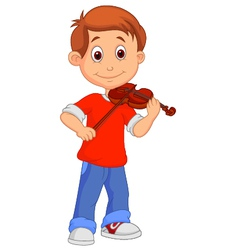 Boy cartoon playing his violin vector