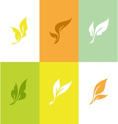Leaf set of elegant design elements vector