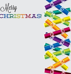 Bright christmas cracker card in format vector