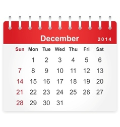 Stylish calendar page for december 2014 vector