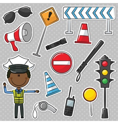 African-american traffic policeman vector