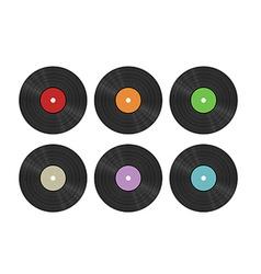 Six vinyl discs vector