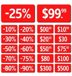 Red price set vector