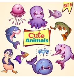 Set of cute sea animals dolphin pike vector