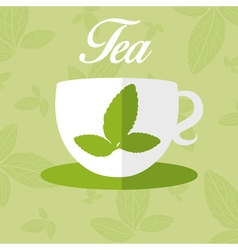 Cup with leaf tea vector