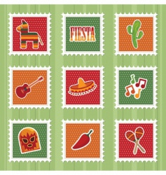 Mexican stamps vector