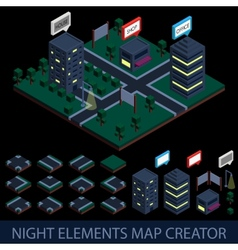 Isometric night elements map creator vector