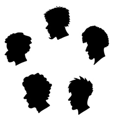 Human heads silhouette set vector