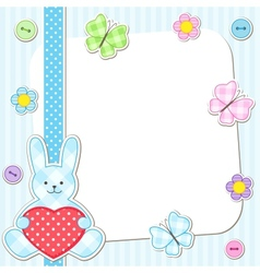 Blue rabbits cards vector