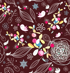 Floral texture with birds vector