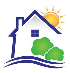 House sun and bushes icon logo vector