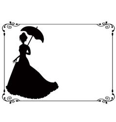 Retro woman with umbrella and frame vector