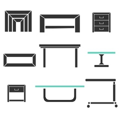 Modern tables set vector
