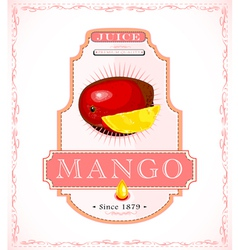 Ripe mango on a fruit or juice product label vector