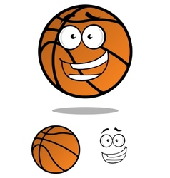 Cartooned basketball ball with smiling face vector