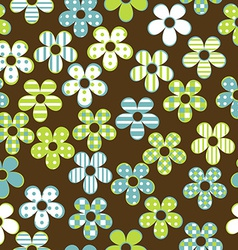 Floral seamless with patterned flowers vector