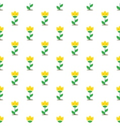 Flat yellow flowers seamless pattern vector