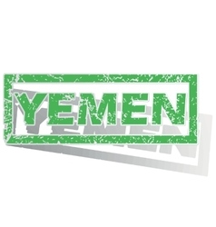 Green outlined yemen stamp vector