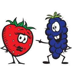 Strawberry n grapes vector