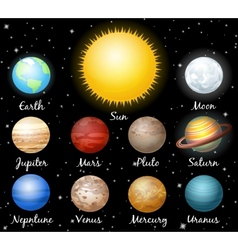 Set of planets against space vector