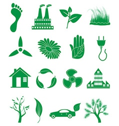 Go green ecology icons set vector