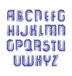 Multicolored handwritten striped uppercase letters vector