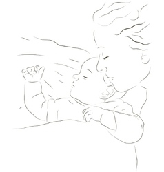Sleeping mother and baby icon vector