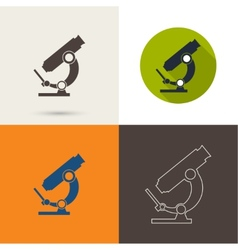 Icons with a microscope vector