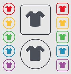 T-shirt clothes icon sign symbol on the round and vector