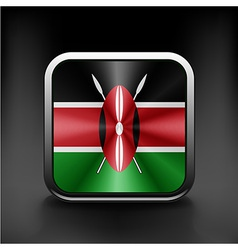 Kenya flag square glossy button national white vector