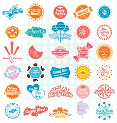 Candy and sweets labels and stickers vector