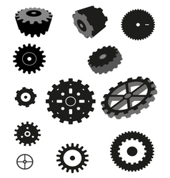 Gear collection machine cogwheel vector
