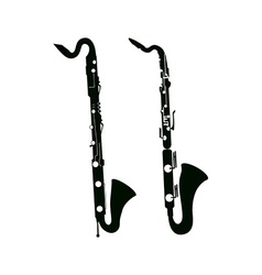 Bass saxophone and clarinet vector