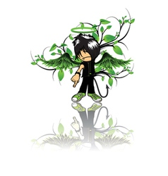 Emo kid with floral vector