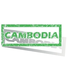 Green outlined cambodia stamp vector