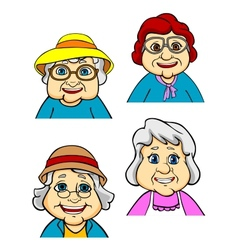 Cartoon happy old women and seniors vector