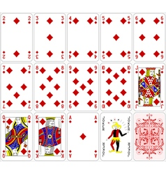Poker cards diamond set four color classic design vector