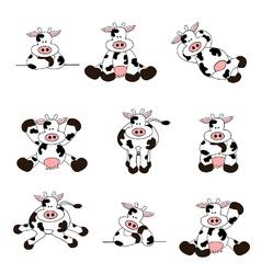 Cute cow set vector