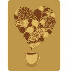 Mug of coffee and sweets vector
