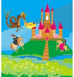 Dragon attacks the castle vector