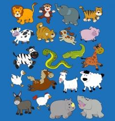 Animals kid drawings vector